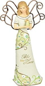 Pavilion Gift Company Bless This Home Angel Figurine by Pavilion, Holding Pear, 6-Inch Tall