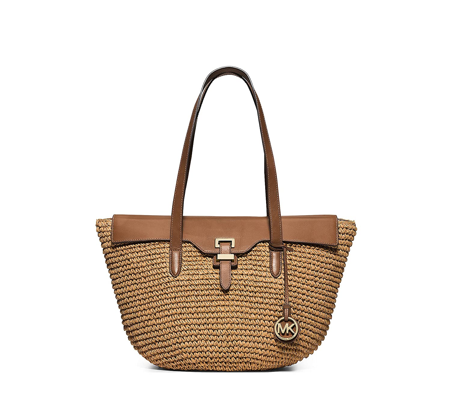 7cb1acb10371 MICHAEL Michael Kors Straw Naomi Large Tote Walnut/Gold: Amazon.co.uk:  Shoes & Bags