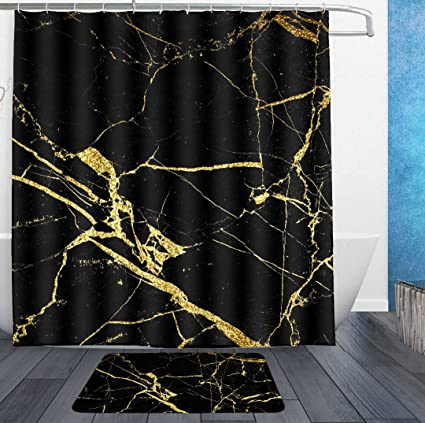 SWEET TANG Chic Black And Gold Marble Texture Shower Curtain Liner With Hooks Bath Rug