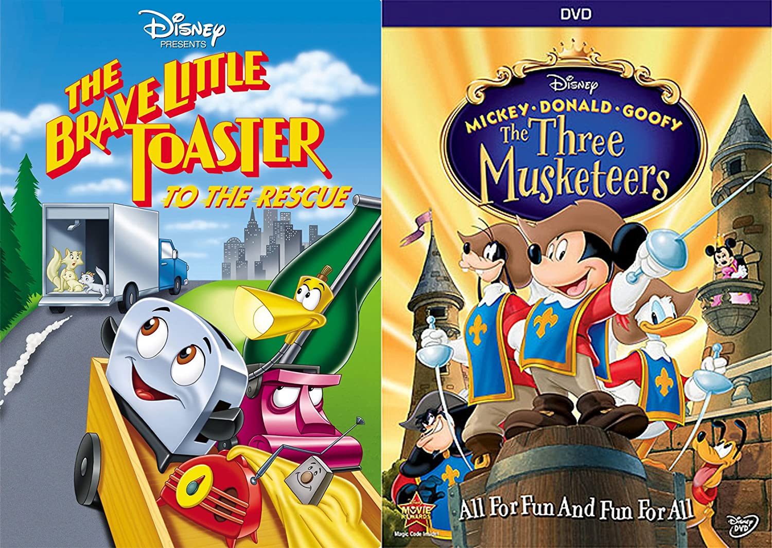 All For Fun Mickey Donald Goofy Three Musketeers + The Brave Little Toaster To the Rescue Disney Double Feature