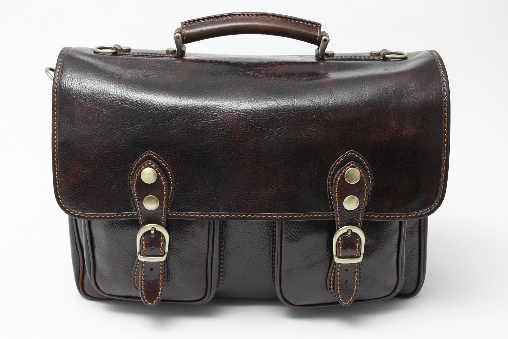 Alberto Bellucci Mens Italian Leather Parma Express Messenger Laptop Satchel Bag in Dark Brown by Alberto Bellucci