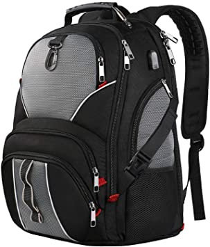 Mochila para portátil de viaje, mochilas grandes de 17 pulgadas con puerto de carga USB
