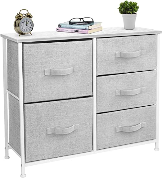 Amazon Com Sorbus Dresser With 5 Drawers Furniture Storage Tower Unit For Bedroom Hallway Closet Office Organization Steel Frame Wood Top Easy Pull Fabric Bins White Gray