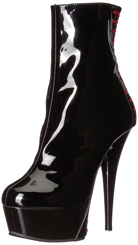 Pleaser Women's Delight-1010 Ankle Boot B06XP34BBL 13 B(M) US|Black Patent-red/Black