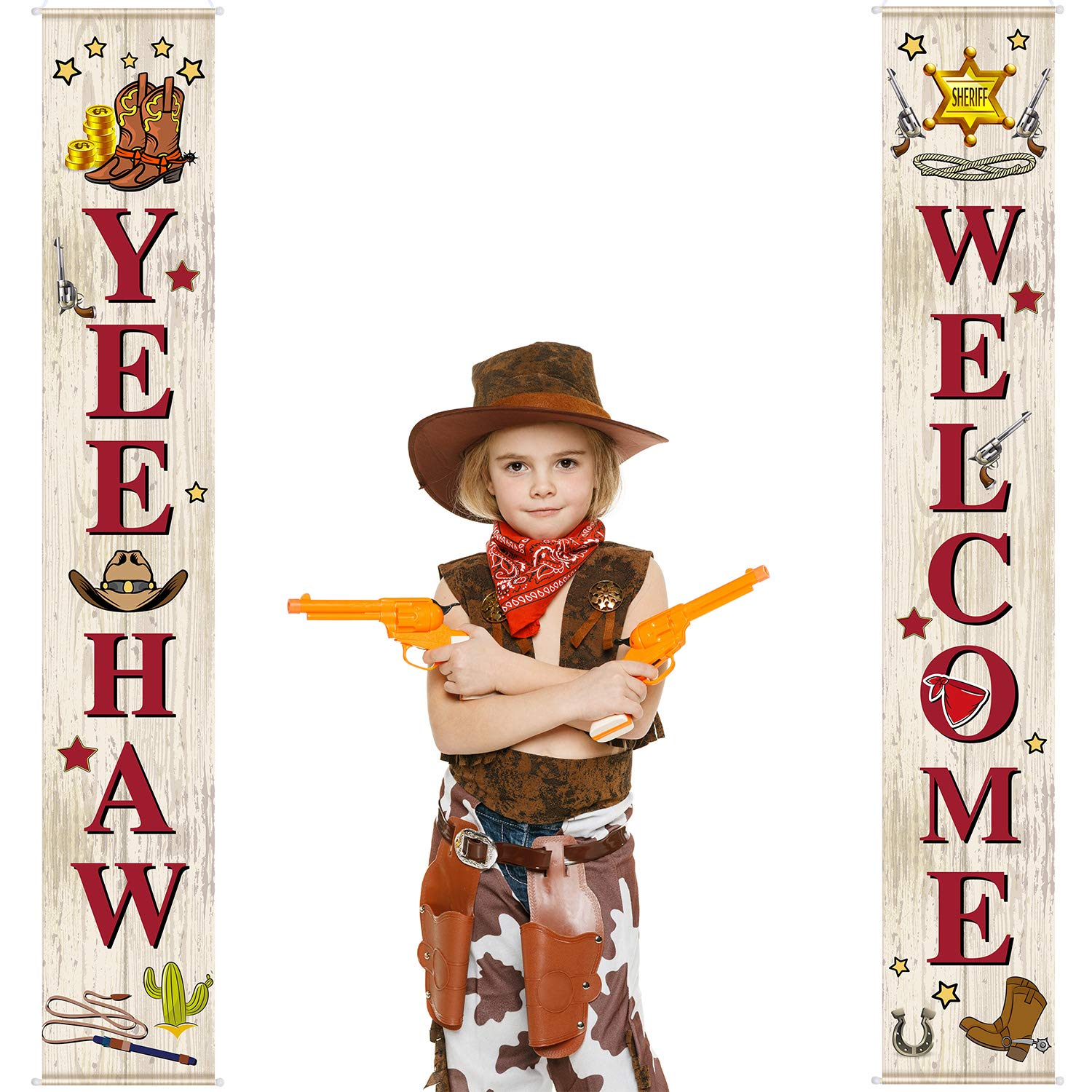 West Cowboy Yee Haw Garland Party Decoration Set Cowboy Porch Sign Welcome Cowboy Banner Hanging Decoration for Indoor/Outdoor Western Cowboy Decoration Party Decorations (Natural)