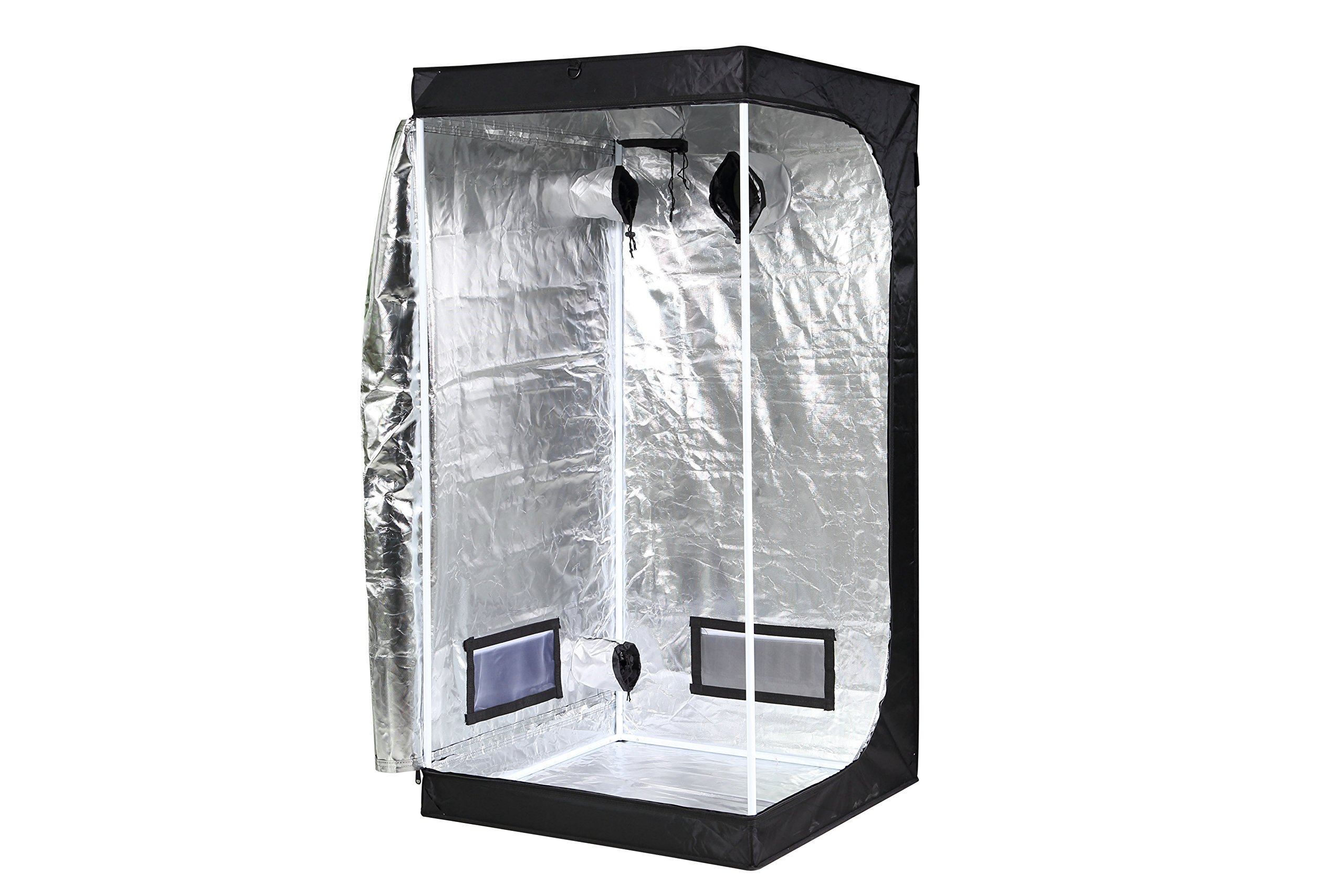 iPower GLTENTXS3 Mylar Hydroponic Grow Tent for Indoor Seedling Plant Growing w/Metal Push-Lock Corners, 32''x32''x63'', Water-Resistant. Removable Mylar Floor Tray Included