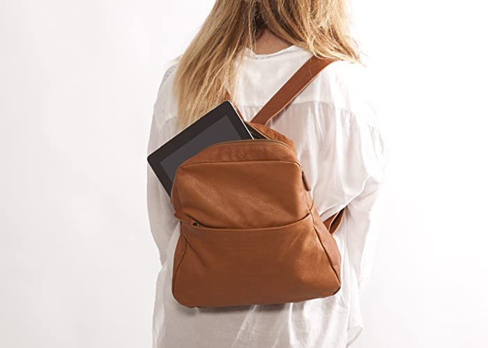 Amazon.com: Brown Leather backpack Soft lightweight handmade ...