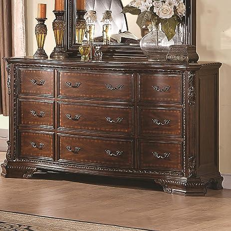 maddison 9 drawer dresser w carved wood detailing