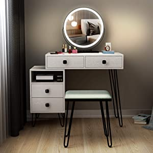 LVSOMT Vanity Desk Set with Makeup Lighted Mirror & Chair, Bedroom Dressing Table w/ 4 Drawers, Cabinet, Cushioned Stool, 3 Color Lighting & Dimmable Mirror, for Women/Girl(White)