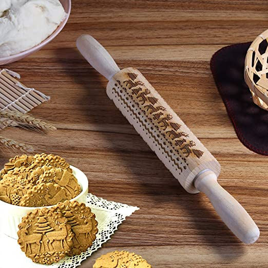 Engraved rolling pin wooden cookies dough cake embossed embossing pin Christmas