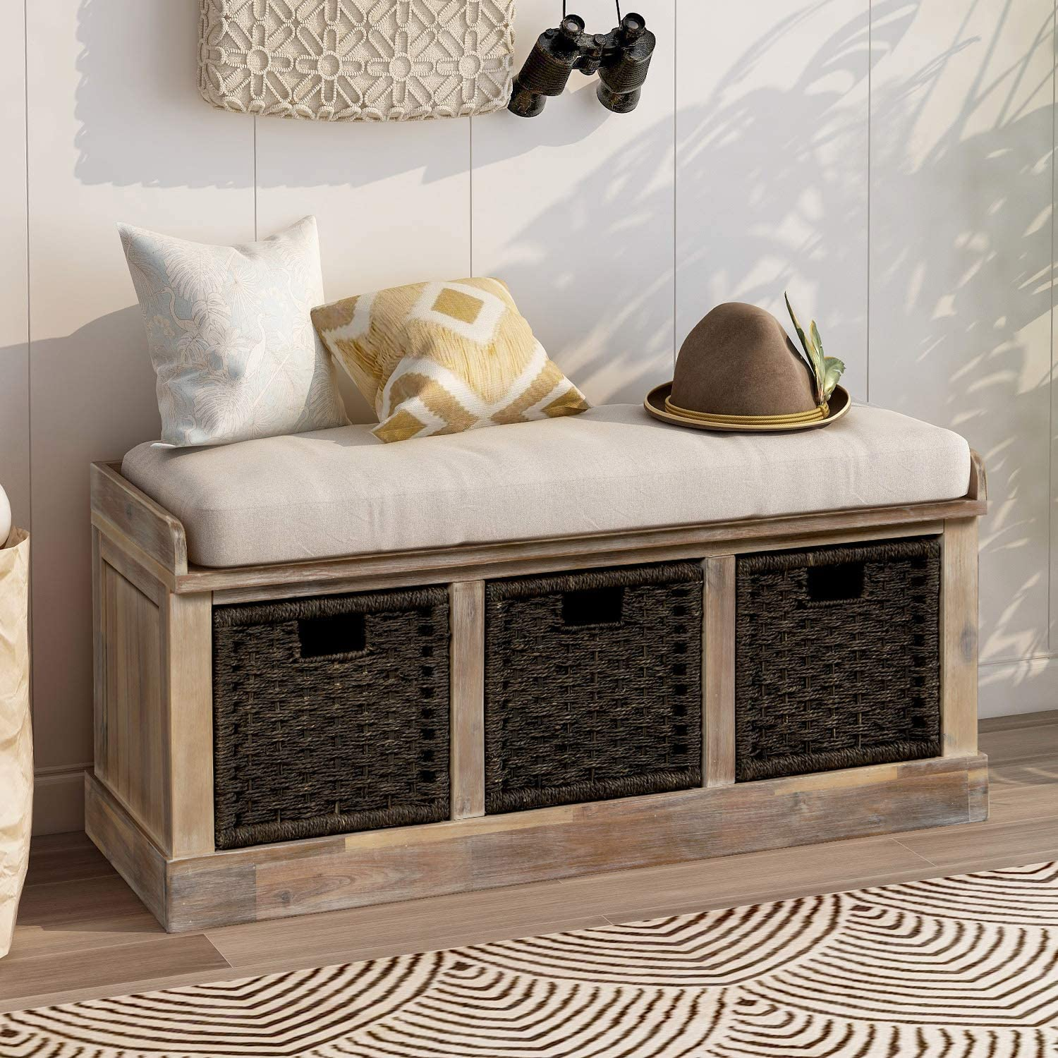 Storage Bench Wicker Storage Bench with 3 Woven Baskets and Removable Cushion, Wood Entryway Shoe Bench for Hallway, Entryway, Bedroom and Living Room, White Washed