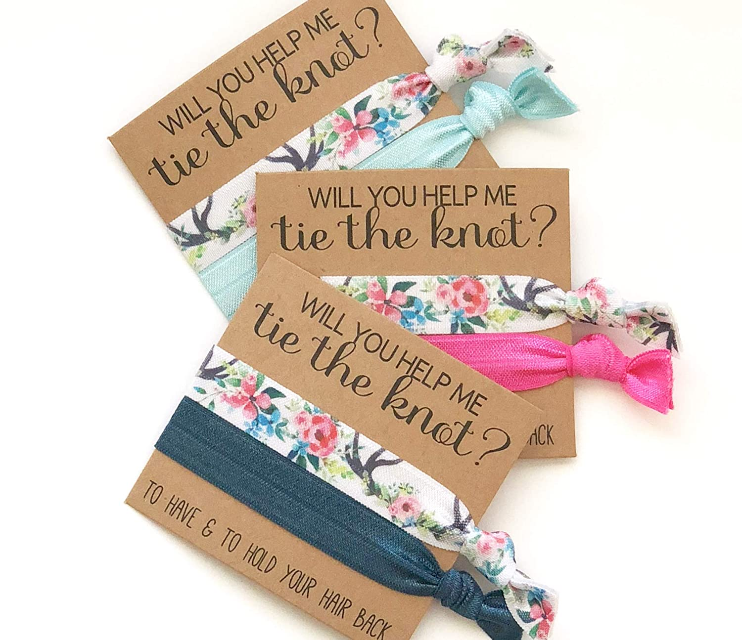 Will you help me Tie the Knot | Bridesmaid Proposal | Bridesmaid Hair Tie Favors | To have and to hold your hair back