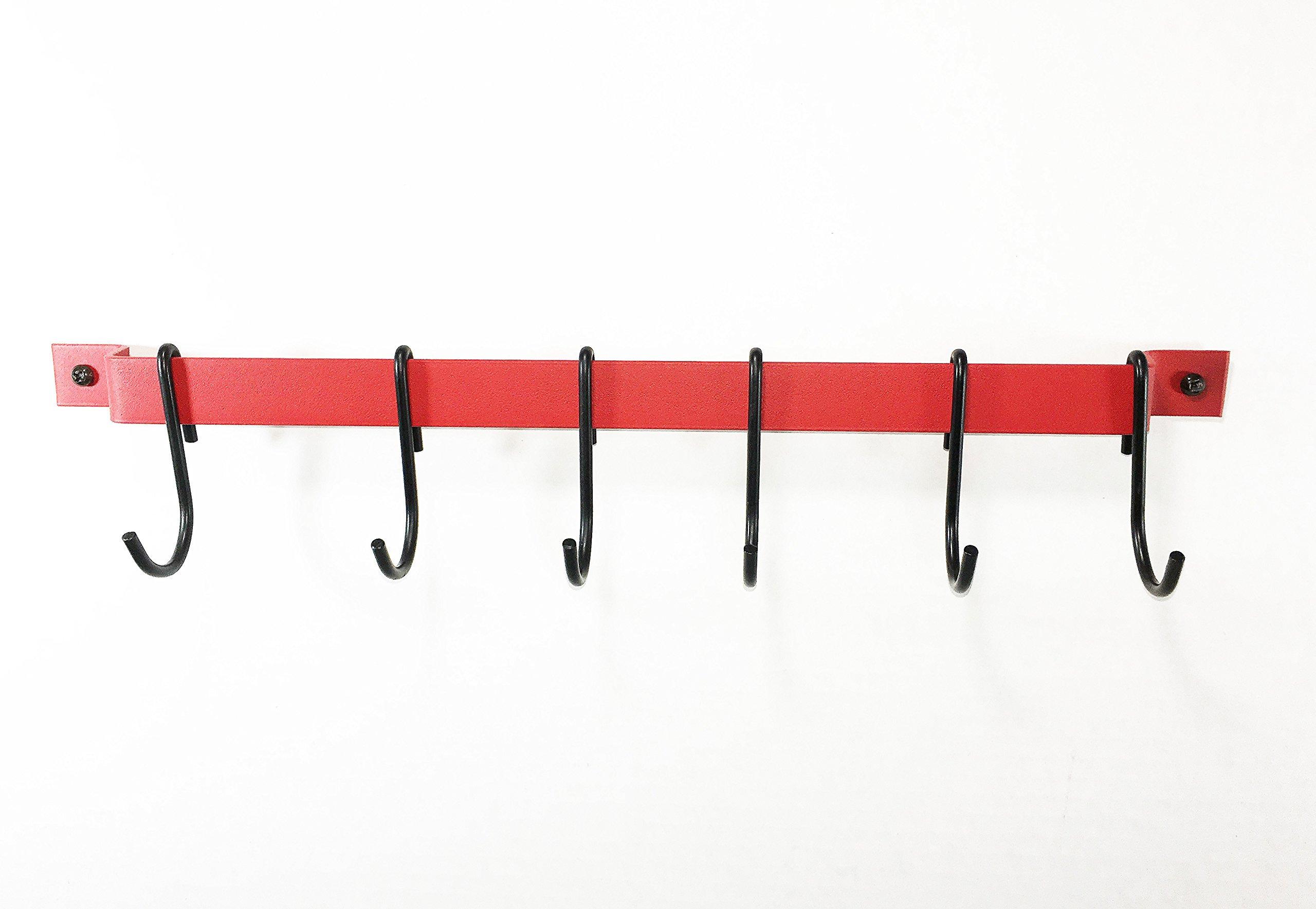 Rogar 18 Inch Red Utensil Bar Rack