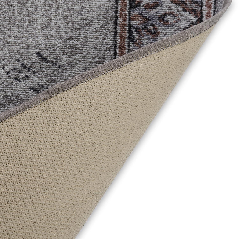 Stufenmatten grau mit zackenförmiger Randmusterung     Qualitätsprodukt aus Deutschland   GUT Siegel   kombinierbar mit Läufer   65x23,5 cm   halbrund   15er Set B01416O8Q0 Stufenmatten 413d40
