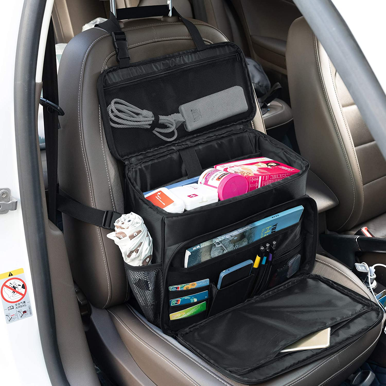 Patent Design Curmio Car Front Seat Organizer Easily Transferred to Handbag Shoulder Bag Perfect for Law Enforcement Passenger Seat Storage Bag with Padded Sleeve for Laptop Police Patrol