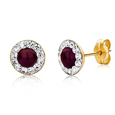 Miore Earrings Women studs Ruby with Swarovski Elements Yellow Gold 9 Kt / 375 hGVCnv4p1Y