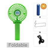 Amazon Price History for:Portable Battery USB Mini Foldable Cooling Desktop Fan for Home Office Camping Travel (Rechargeable,Handheld,Umbrella Hanging,Baby Fan) (Green)