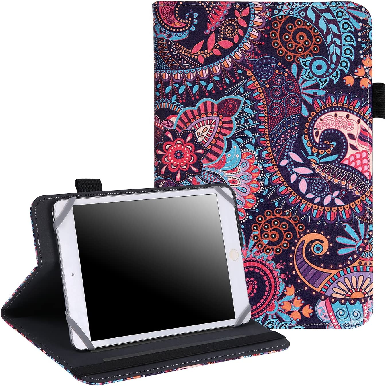 "7"" - 8"" Inch Tablet Case - Universal Folio Cover Protective Stand for Touchscreen Tablets Including Ipad Min and many more (Purple Paisley)"