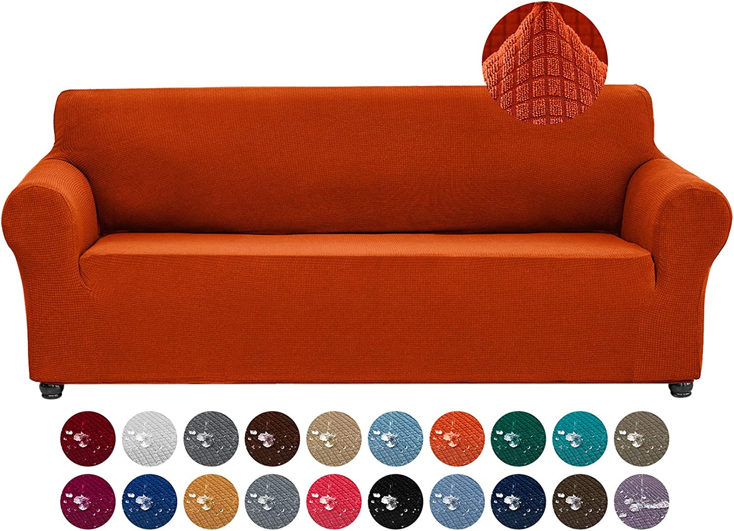 Joccun Stretch Couch Cover Slipcovers, 1-Piece Water Repellent Sofa Covers for 3 Cushion Couch Spandex Jacquard Washable Furniture Protector Cover for Living Room,Kids,Pets(Sofa,Pureed Pumpkin)