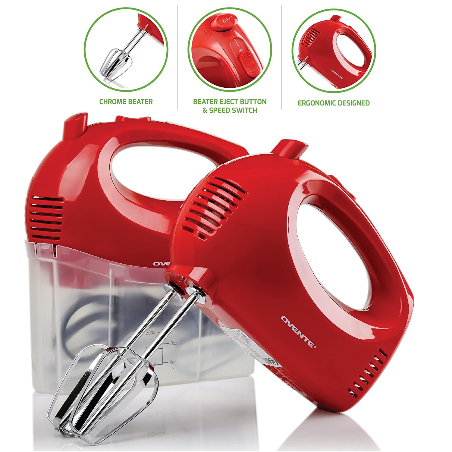 Ovente Electric Hand Mixer, 5 Mixing Speeds, 150W, 2 Stainless Steel Chrome Beaters & Snap-On Storage Case, Cool-Touch Handle, Red (HM151R)