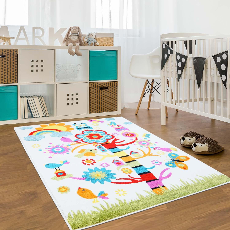 Myshop24h Teppich Flachflor Kinderteppich Kinderzimmer Spielteppich Bunt lustige Tiere Eule Vögel Sonne Regenbogen, Moda 120 x 160 cm B07NPCYV4L Teppiche & Lufer