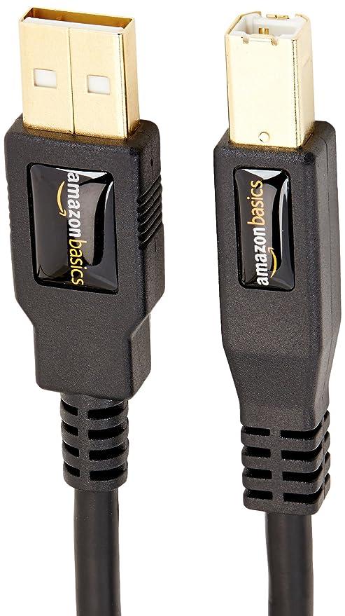 AmazonBasics - Cable USB 2.0 de tipo A macho a tipo B macho (3 m)