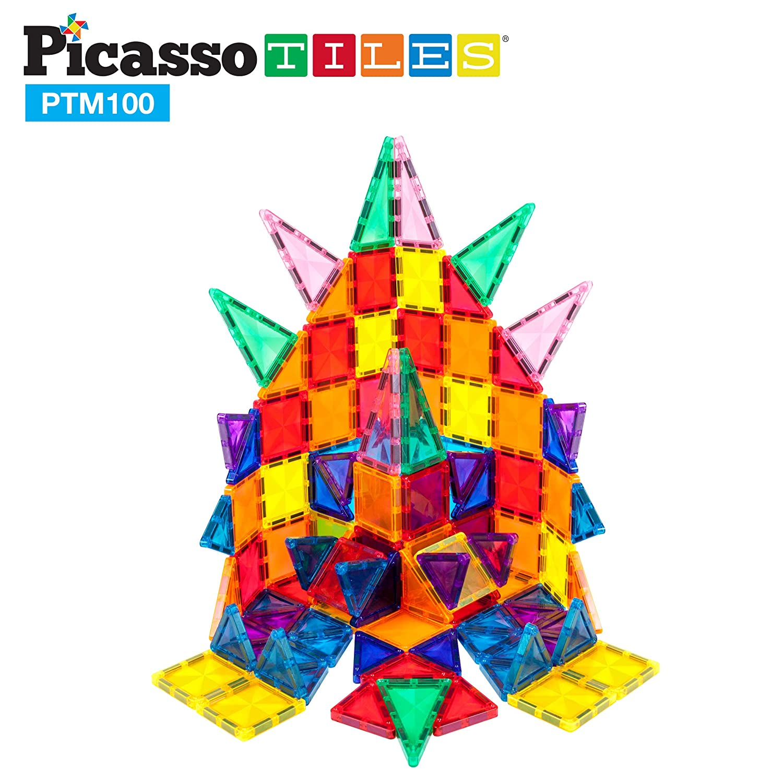 PicassoTiles 100 Pcs Magnetic Building Block Mini Diamond Series Travel Size On-The-Go Magnet Construction Toy Set STEM Learning Kit Educational Playset Child Brain Development Stacking Blocks PTM100