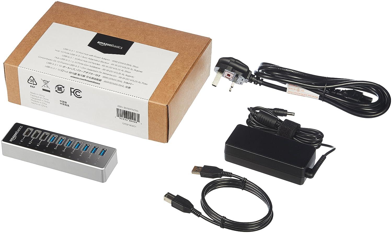 Basics USB-C 3,1 7-Port Hub with Power Adapter Black 12V//3A 36W