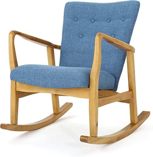 Christopher Knight Home Callum Mid-Century Fabric Rocker, Muted Blue Light Walnut