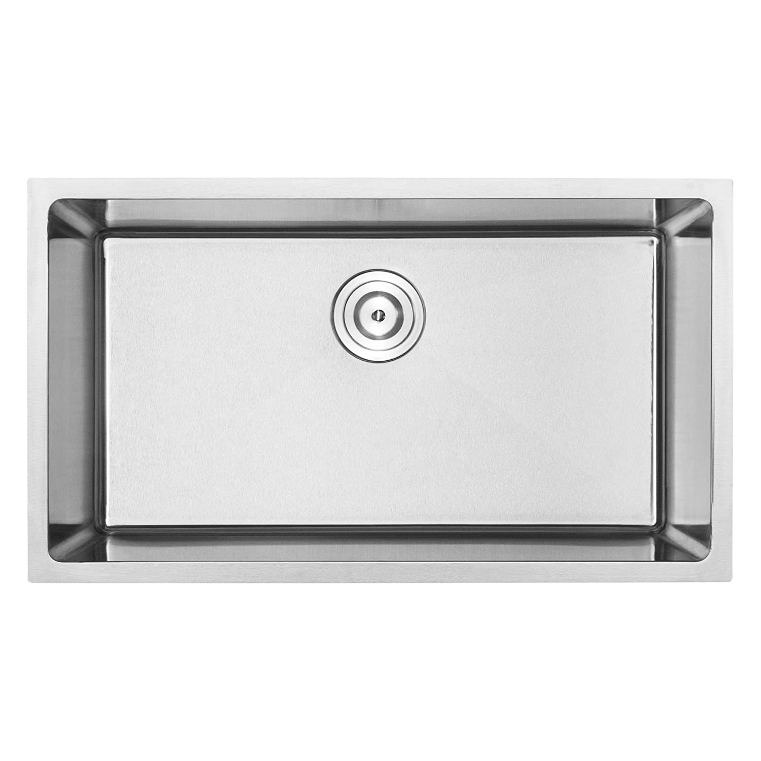 29 1 4 PLZ-25-TBASK Undermount 18 Gauge Stainless Steel Square Kitchen Sink with Tight Radius Corners