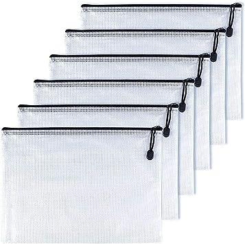 OAIMYY B4-Waterproof Tear-Resistant Plastic Zipper Pen File Document Folders Pockets Travel Bags,6-Pcs,Black
