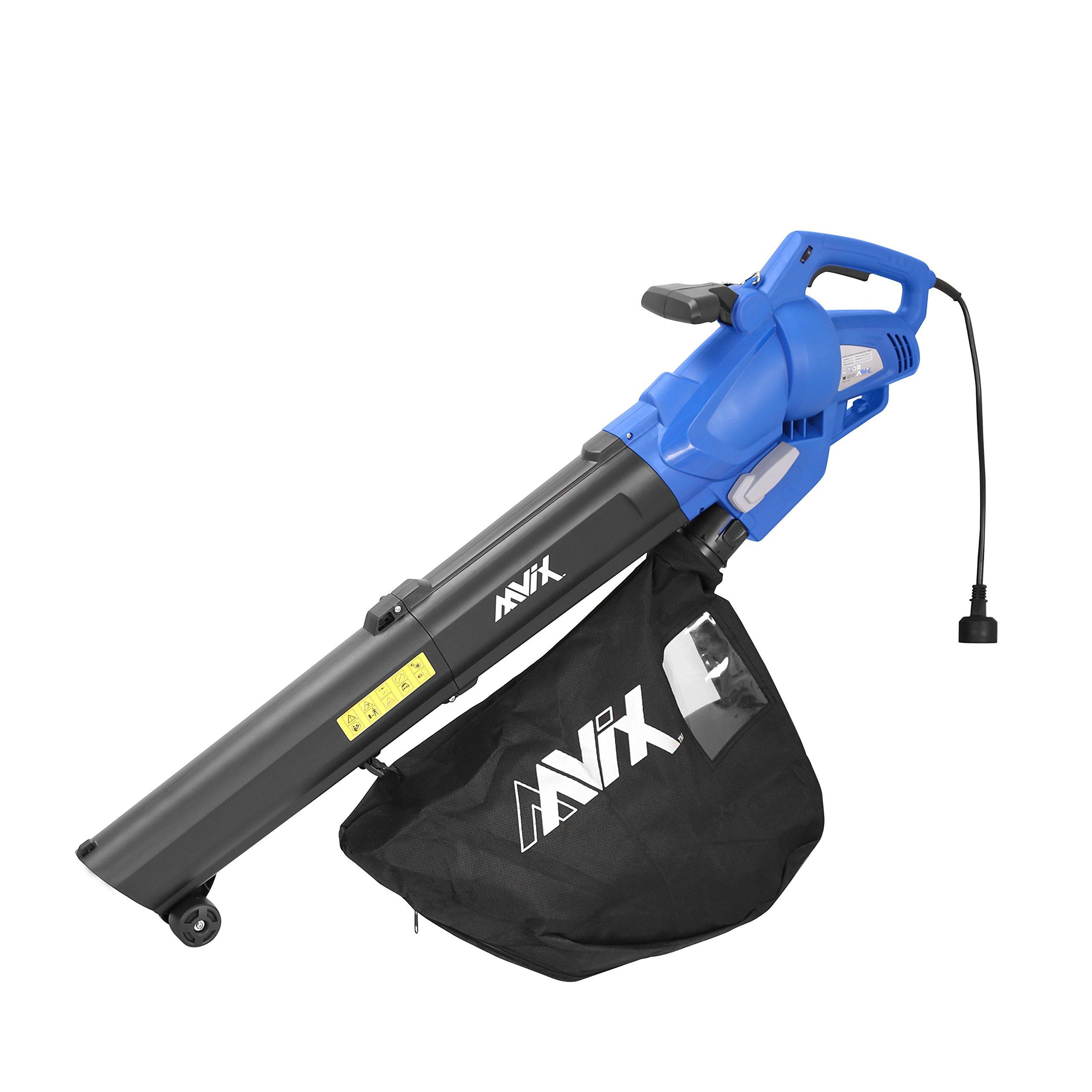 AAVIX AGT309 12 Amp All-In-One Blower/Mulcher/Vacuum 6 Speeds Electric Blower, Blue