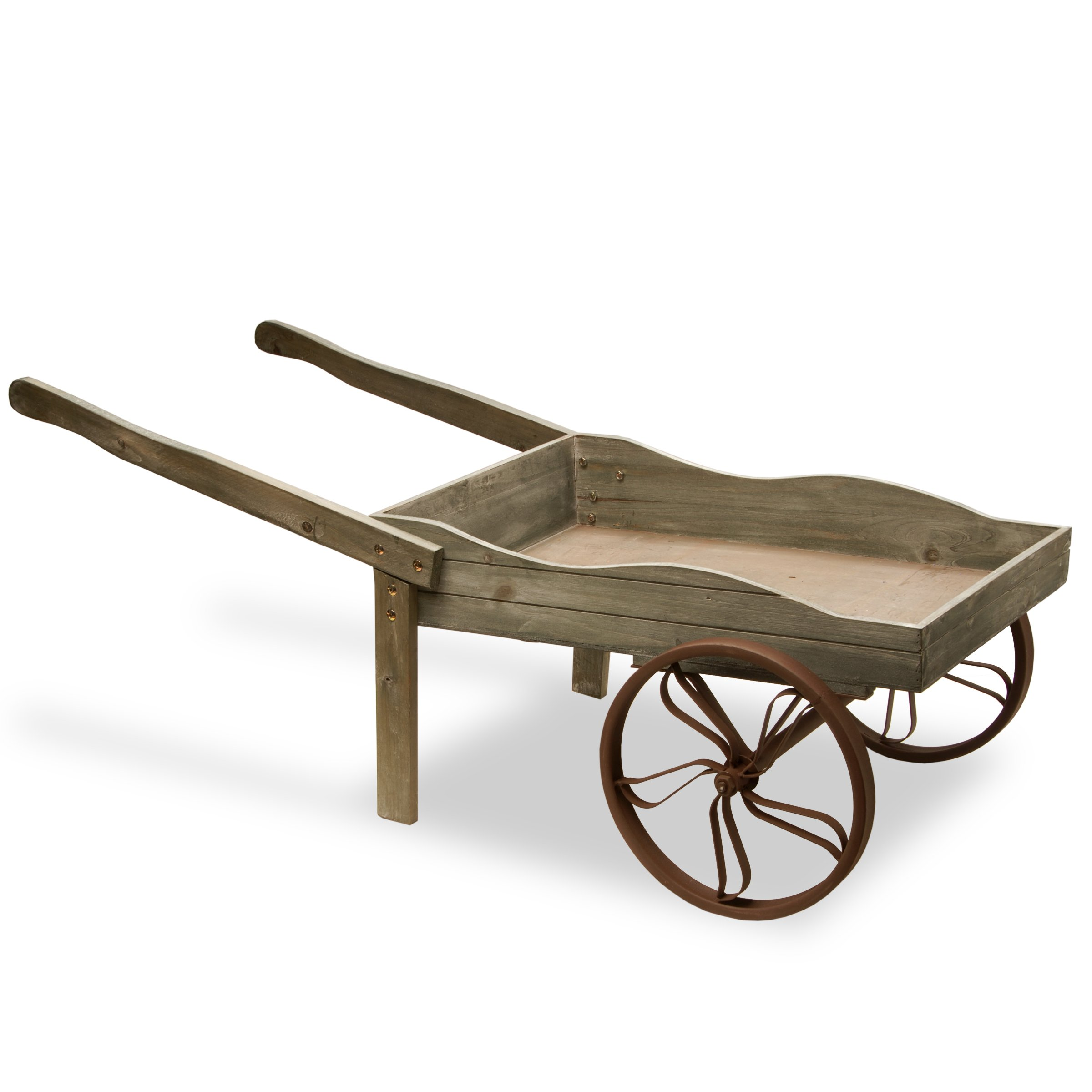 National Tree 43 Inch Garden Accents Light Grey Wooden Garden Cart (GAGC30-43G) by National Tree Company