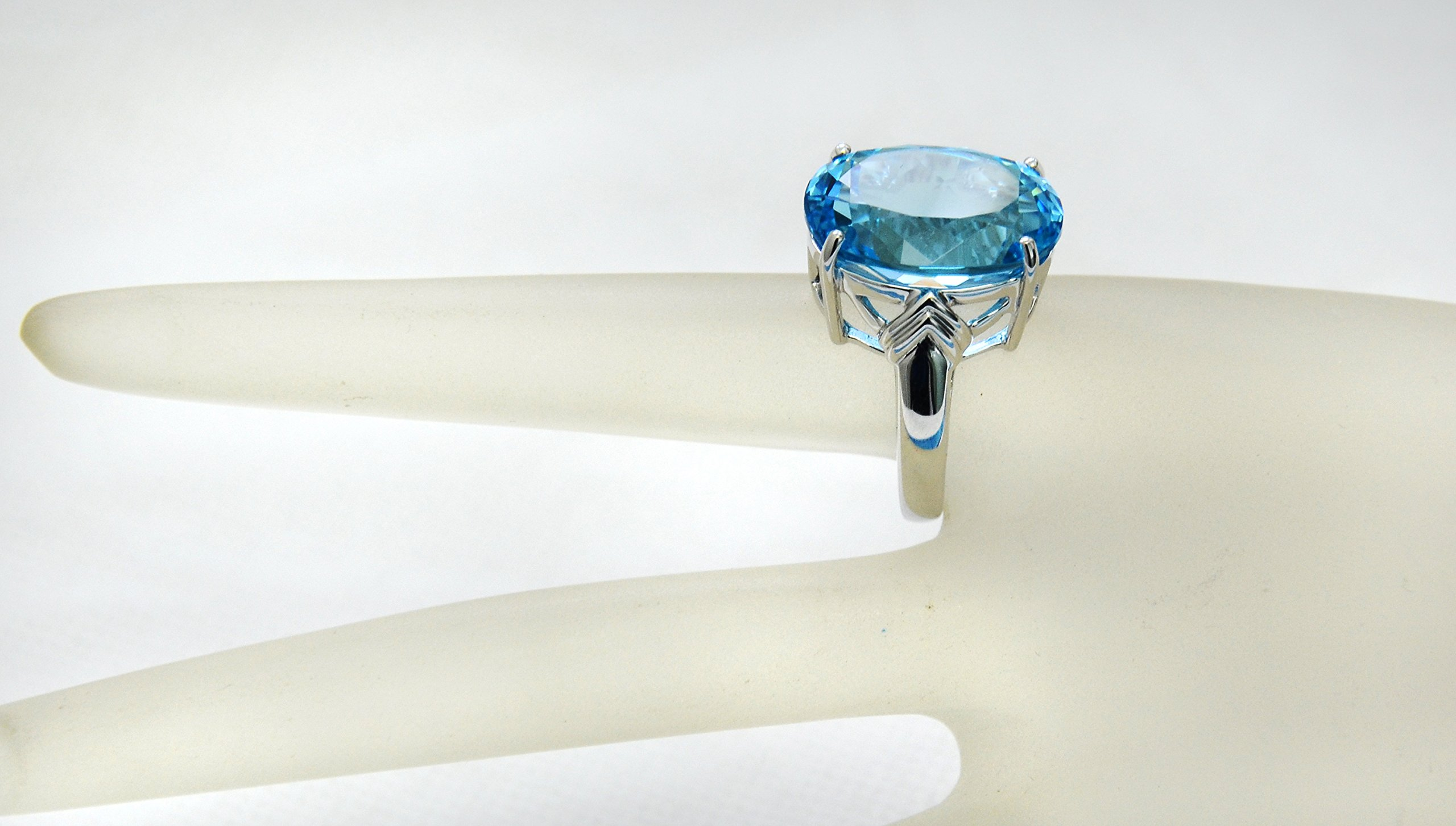 Sterling Silver 925 STATEMENT Ring GENUINE SWISS BLUE TOPAZ 22 Carats with RHODIUM-PLATED Finish (6, swiss-blue-topaz) by RB Gems (Image #2)