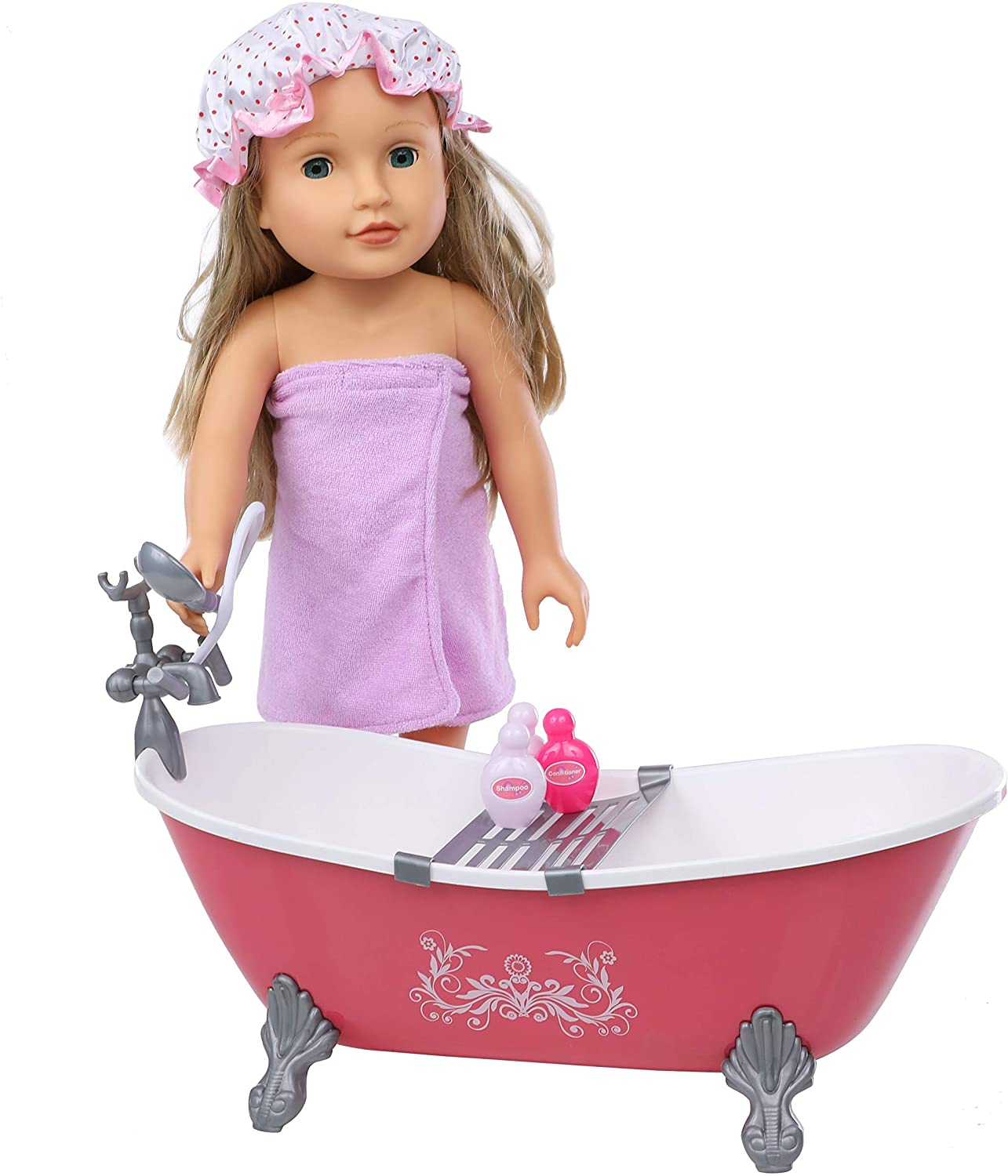 Beverly Hills Doll Accessories Hot Pink Bath Tub and Shower Set with Towel and Accessories, Fits 18 Inch American Girl Dolls