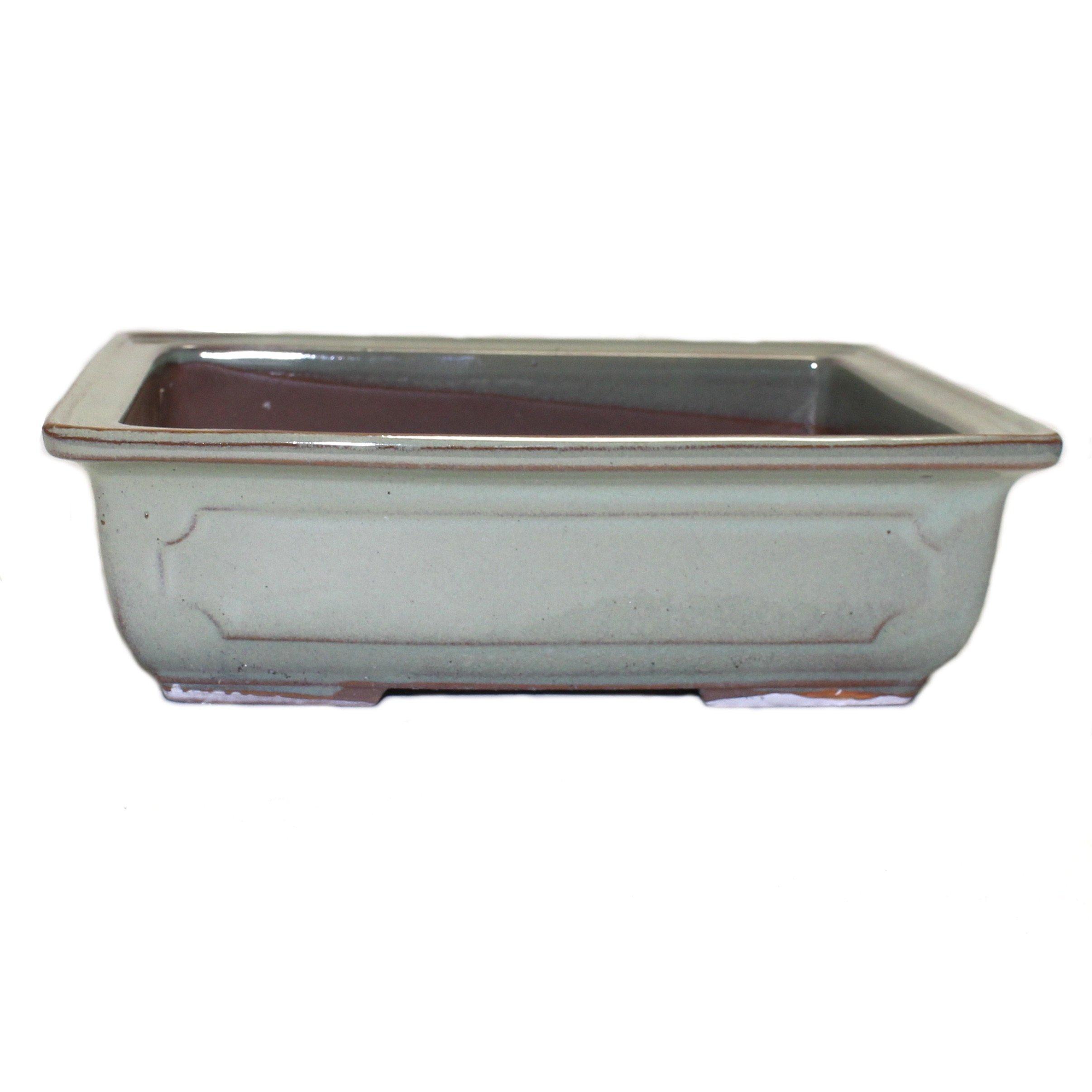Bonsai Pot Ceramic Rectangle Window Shaped Decorations (7.6'', Oribe-Yu)