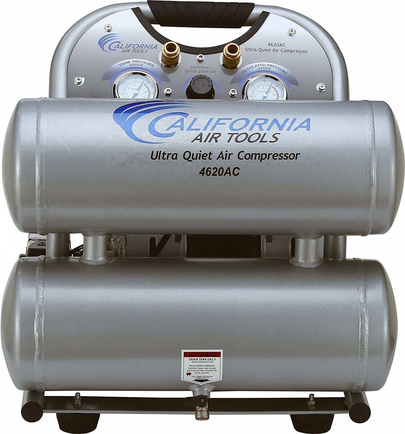 California Air Tools CAT-4620AC Ultra Quiet Oil-Free 2.0 hp 4.0 gallon Aluminum Twin Tank Electric Portable Air Compressor, Silver