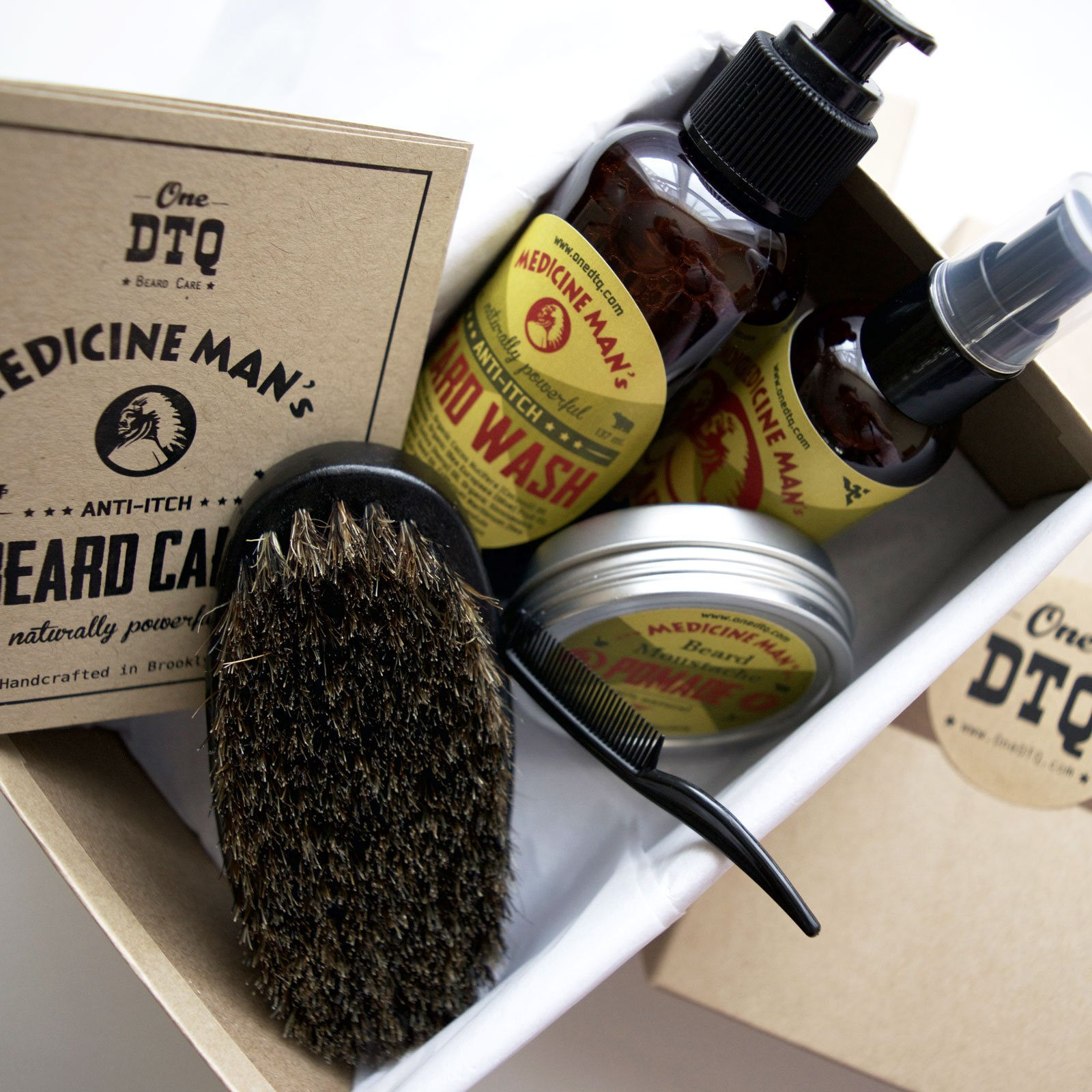 Medicine Man's Anti-Itch Beard & Mustache Kit - Beard Itch Wash, Oil, Balm, Brush - Beard Treatment Products in Premium Gift Box