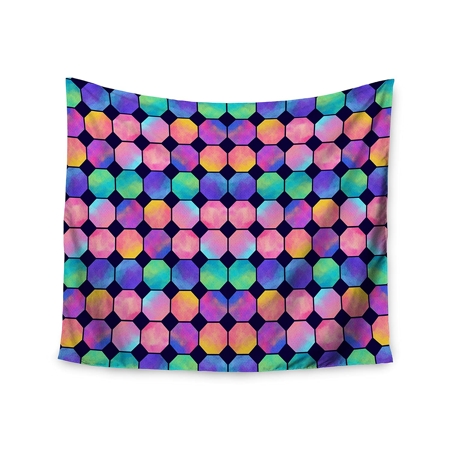 Kess InHouse Noonday Design Colorful Octagons Watercolor Abstract Wall Tapestry 51 x 60