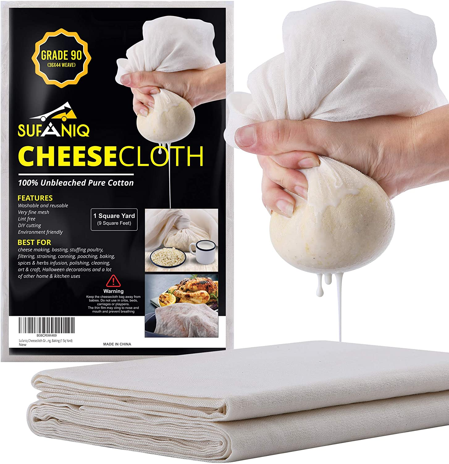 Sufaniq Cheesecloth Grade 90-9 Square Feet Unbleached 100% Cotton Fabric Ultra Fine Reusable Cheese Cloths for Cooking Straining Cheesemaking and Baking (1 Sq Yard)