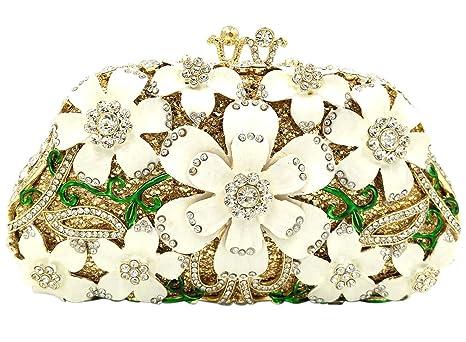 Mujer Bolso Noche Bolsas Fiesta Boda Carteras Brillo Mano Diamantes Cadena Embrague Flores Blanco
