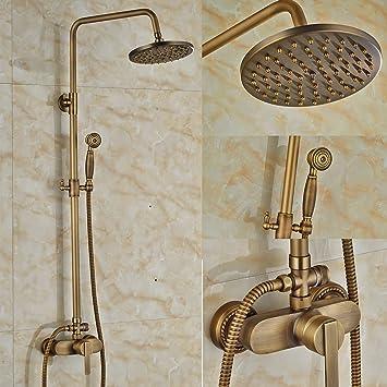 Rozin grifo de ducha de latón envejecido, 20 cm, grifo mezclador ...