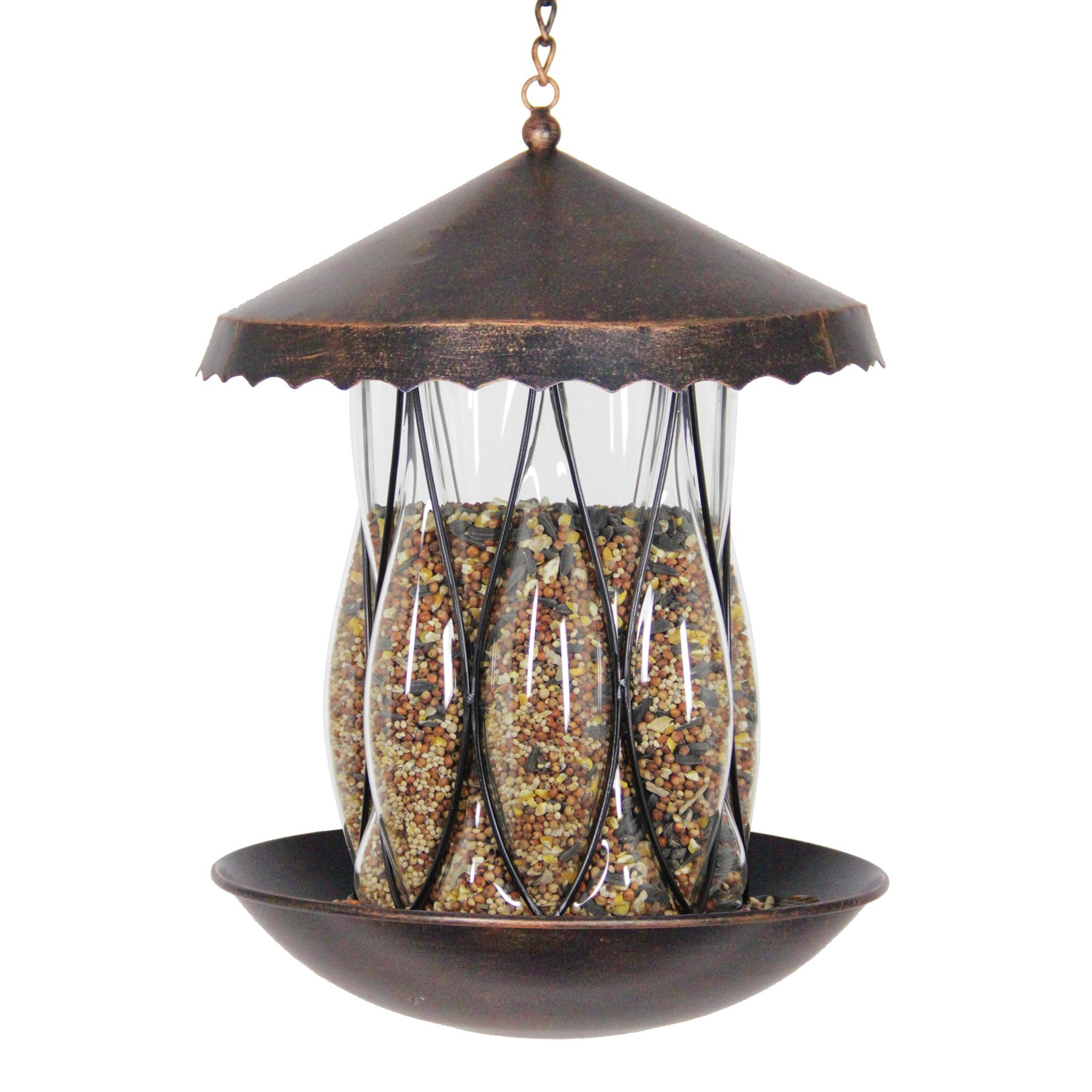 11 Inch Solar Bronze Bird Feeder - Diamond Glass Shape, Bird Feeder, Backyard/Outdoor / Garden