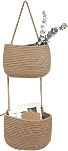 Over The Door Hanging Basket, 2 Tier Cotton Rope Woven Wall Basket, Magazine Racks Hanging Organizer, Decorative Hanging Storage Baskets for Organizing Living Room, Bathroom and Bedroom (Jute)