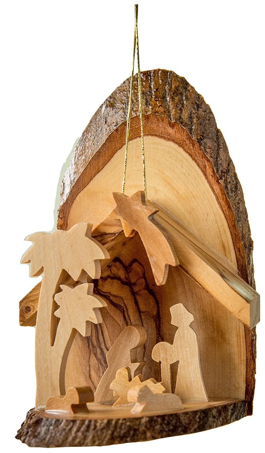 Buy Earthwood Olive Wood Bark Slice Grotto With 2 Palms Ornament Online At Low Prices In India Amazon In