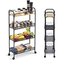 KINGRACK 4-Tier Slim Rolling Cart, Slide Out Storage Cart with Wooden Tabletop, Mobile Utility Cart with Mesh Baskets…