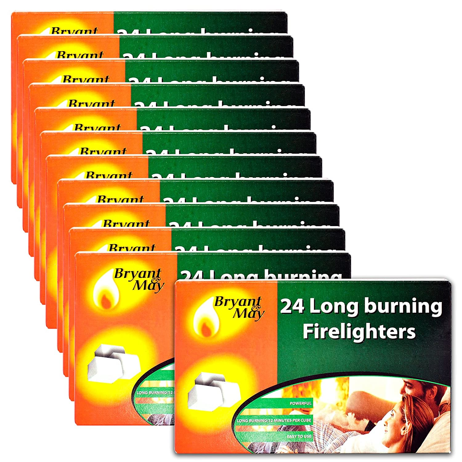 12 X Packs of 24 Bryant & May Long Burning Easy to Use Firelighters & Tigerbox Safety Matches Bryant&May / Tigerbox