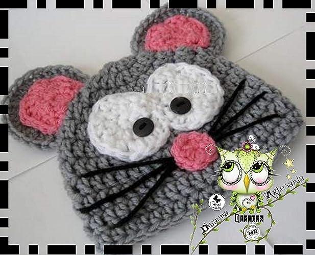 d2776afc1 Gorro Ratón PERSONALIZABLE (Bebé, crochet, ganchillo, muñeco, peluche, niño,