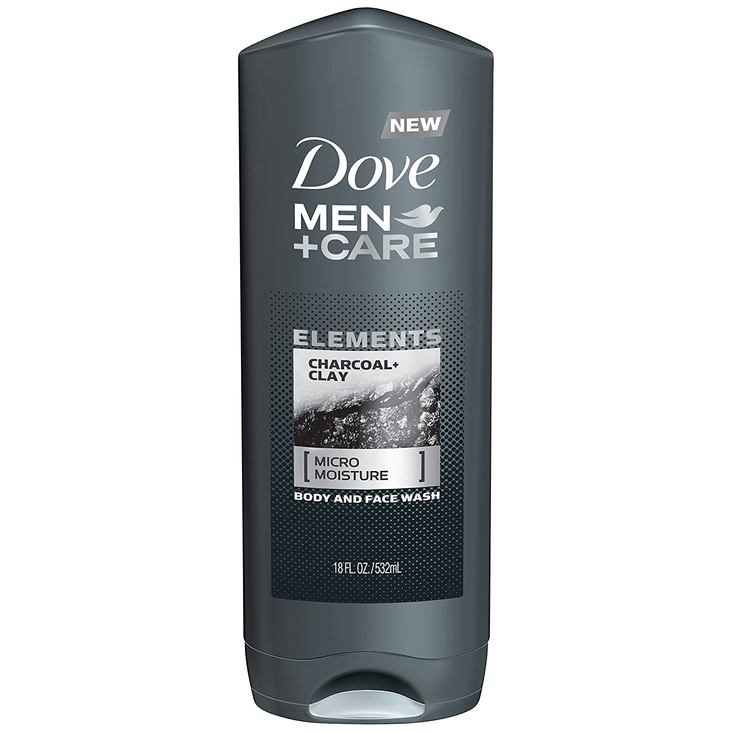 Dove Men+Care Elements Body and Face Wash, Charcoal and Clay 18 oz