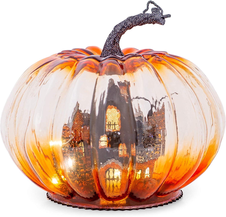 Spooky Haunted House Pumpkin LED 6 x 8 Glass Decorative Tabletop Figurine